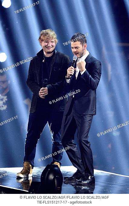 Guest star Ed Sheeran during the performance at the talent show X Factor 2017, Milan, ITALY-14-12-2017