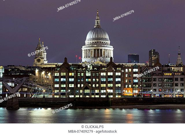 Evening lights on St. Paul's Cathedral, London, Great Britain, UK