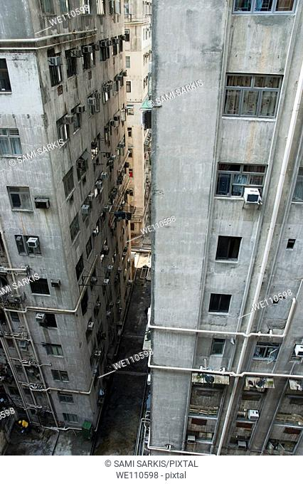 Old, run-down concrete high-rise apartment buildings in Kowloon, Hong Kong, China