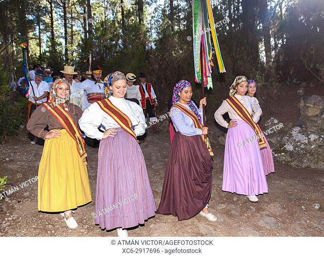 Annual Pilgrimage of Las Hayas Virgin in La Guancha municipality. Tenerife, Canary Islands, Spain
