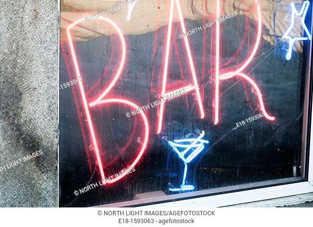 Canada, Quebec, Montreal. Neon sign for bar