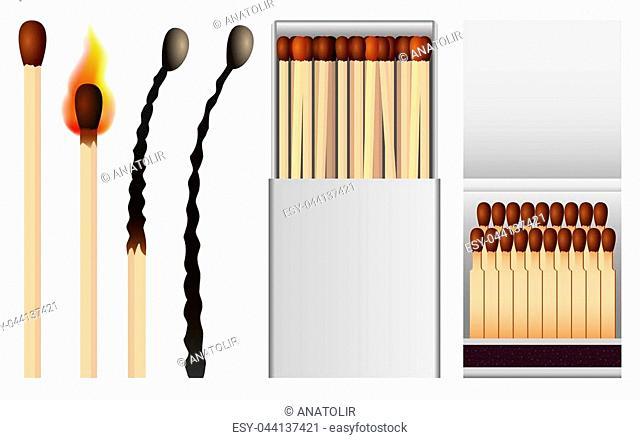 Safety match ignite burn mockup set. Realistic illustration of 4 safety match ignite burn mockups for web