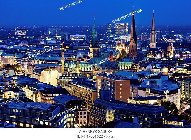 Hamburg churches and Town Hall towers Hamburg, Germany