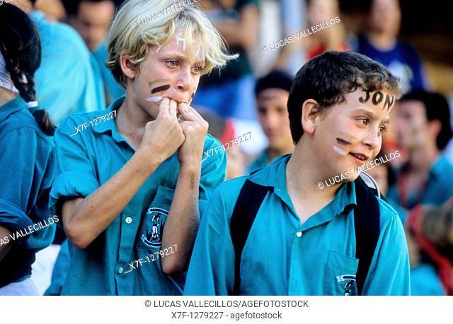 Castellers de Vilafranca 'Castellers' is a Catalan tradition Biannual contest  bullring Tarragona, Catalonia,Spain