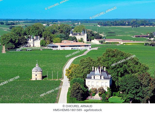 France, Gironde, Pauillac, the estate of Chateau Latour where a wine First Great Growths is produced and the estate of chateau Pichon Longueville in the...