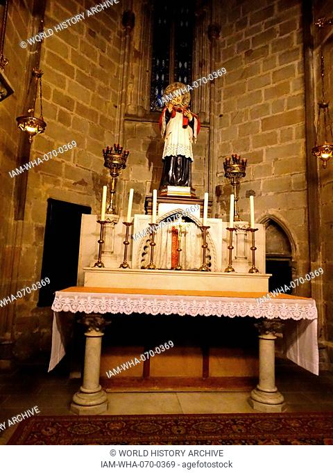 The Cathedral of the Holy Cross and Saint Eulalia (Catedral de la Santa Creu i Santa Eulàlia, Spanish: Catedral de la Santa Cruz y Santa Eulalia)