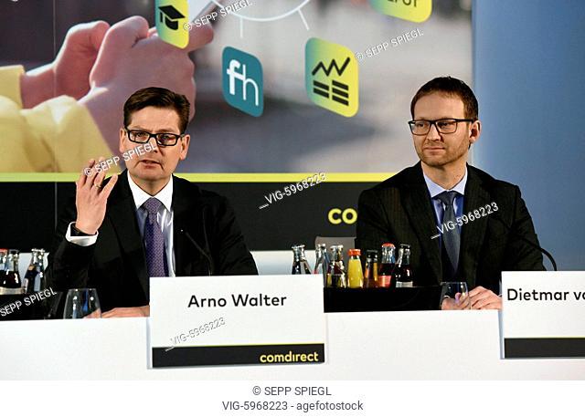 Deutschland, Frankfurt, 30.01.2018 Bilanzpressekonferenz der comdirect bank AG Arno Walter (re), Vorstandsvorsitzender und der Finanzvorstand Dietmar von...