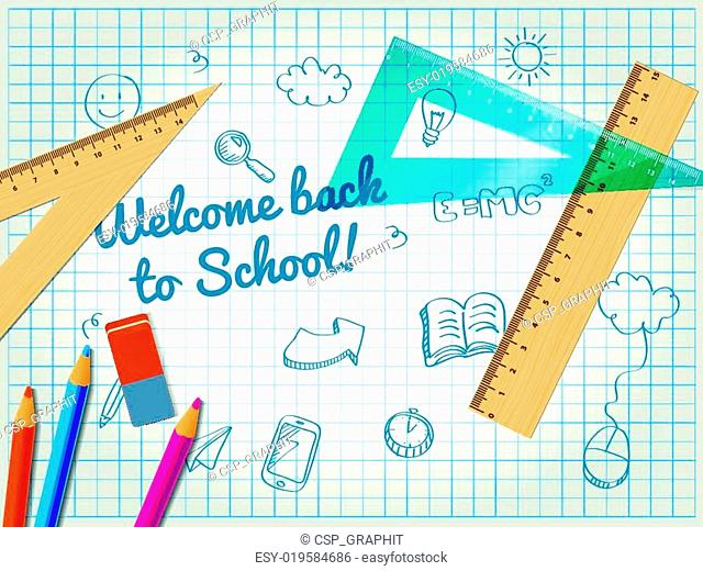 Back to school poster with doodles, rulers and pencils