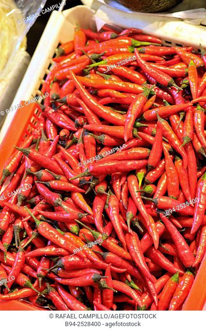 Chili, Chile or Chilli peppers. The Mercat de Sant Josep de la Boqueria, aka La Boqueria, large public market with an entrance from La Rambla