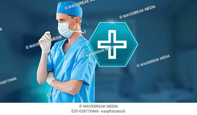 Male doctor with medical hexagon interface