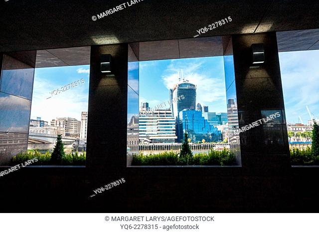 Cityscape of London with Walkie Talkie building, seen from the other side of the Thames River, United Kingdom