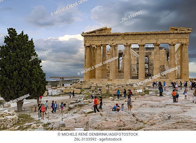The Parthenon or Temple of Athena on Athenian Acropolis in Greece