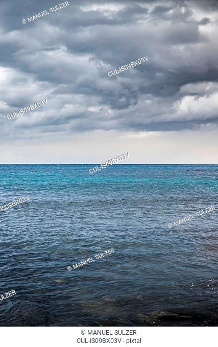 Seascape with storm clouds, Agaete, Canary Islands, Spain
