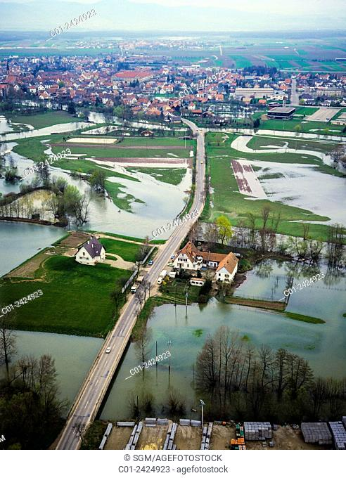 Aerial view of flooded fields and Benfeld village Alsace France