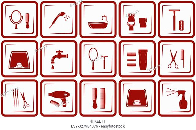 set red objects - hair care and bathroom icons