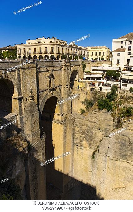 Parador Nacional state-run hotel, El Tajo canyon or gorge, Ronda. Málaga province Costa del Sol, Andalusia. Southern Spain Europe