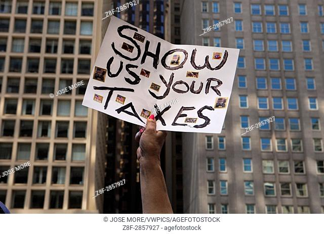 Several thousand people marched asking President Donald J. Trump to release his income tax returns. Others protested against the President's anti-immigration...