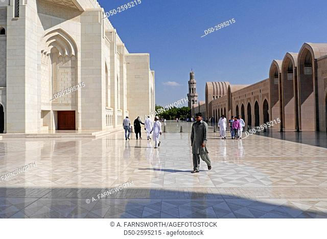 MUSCAT, OMAN Sultan Qaboos Grand Mosque. Muslim worshipers exiting after prayer