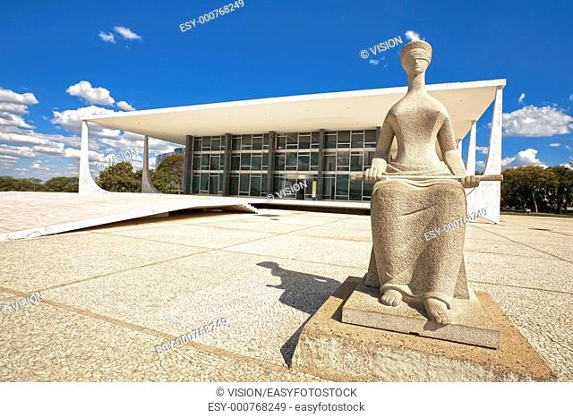 The Supreme Court is the highest instance of the Judiciary Power in Brazil The sculpture in front of the Court is called A Justiça The Justice