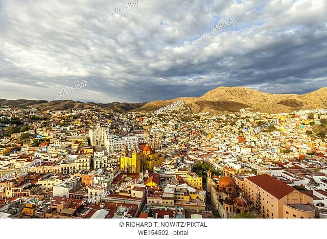 The historic city center's churches and colorful houses on the mountainside in Guanajuato, Mexico