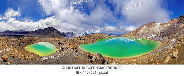 Panorama of green sulphurous Emerald Lakes in active volcanic Tongariro National Park, Manawatu-Wanganui, North Island, New Zealand