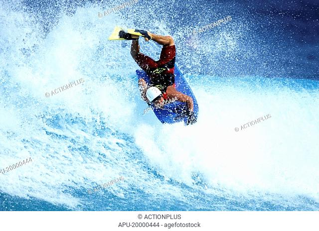 Body boarder rides the waves