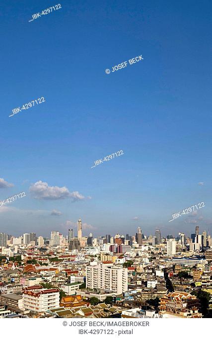 Panoramic city view from Grand China Princess Hotel, skyline, Baiyoke Tower, Chinatown, Bangkok, Thailand