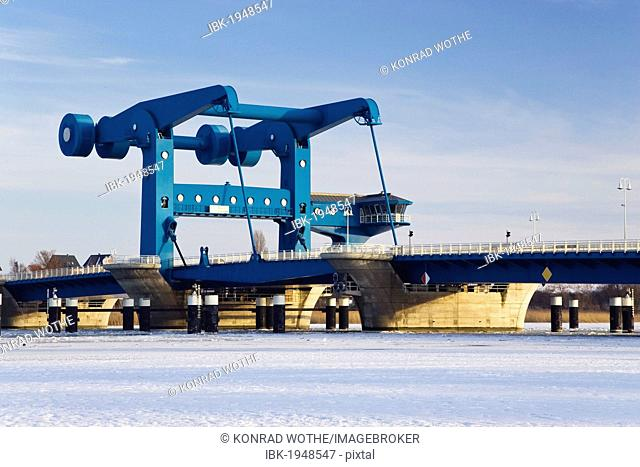 Peenebruecke lift bridge in winter, Wolgast, Usedom island, Meckelnburg Western Pomerania, Germany, Europe