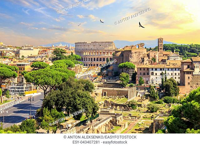 Coliseum and Roman Forum, beautiful sunset view