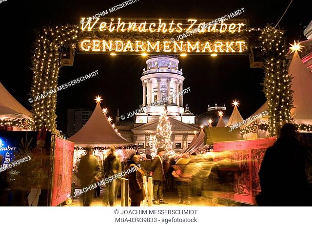 Germany, Berlin, Gendarmenmarkt, christmas-market, entrance, gaze, German cathedral, concert-house, detail, illumination, evening, capital, buildings