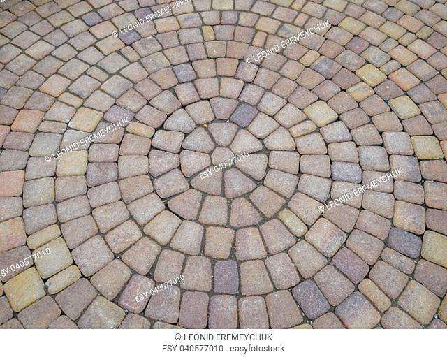 Background texture of paving slabs in circles