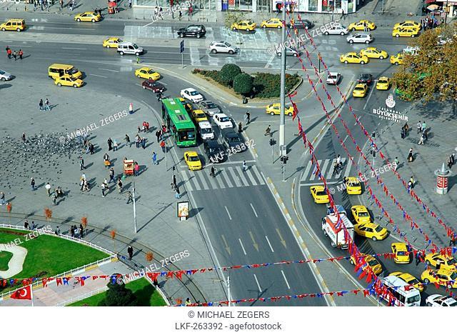 High angle view at cabs at Taksim square, Taksim Cumhuriyet Abidesi, Istanbul, Turkey, Europe