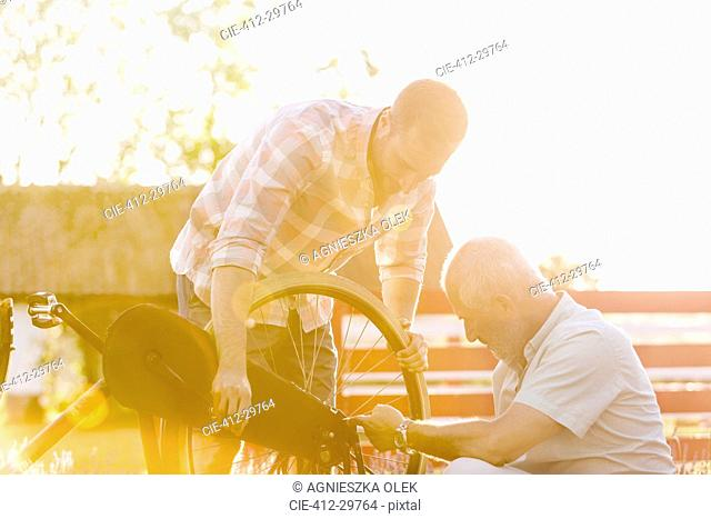 Father and adult son fixing bicycle