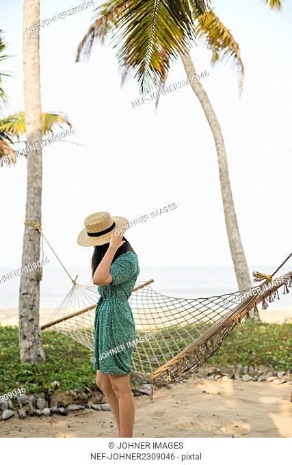 Woman near on hammock on beach