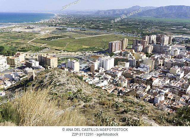CULLERA SPAIN: Aerial view of the Spanish town of Cullera with Mediterranean sea in the background on July 23, 2018