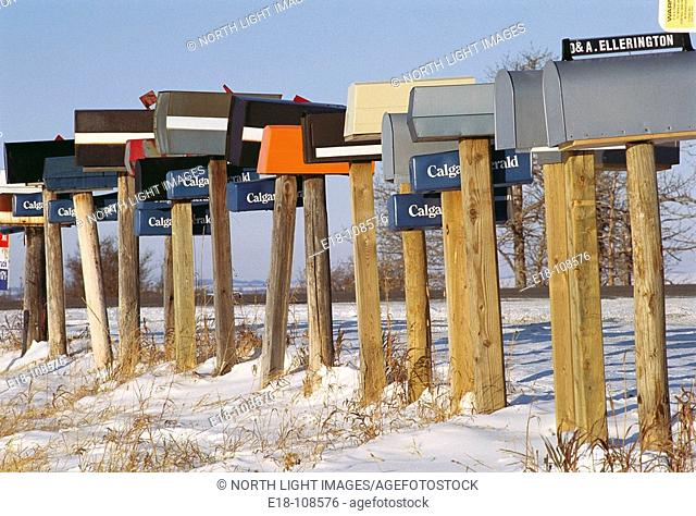Mailboxes by Priddis road, South of Calgary. Alberta, Canada