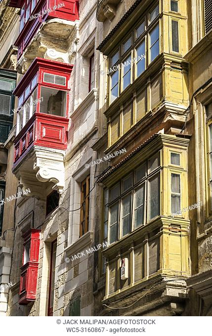 traditional house window architecture detail in la valletta old town malta