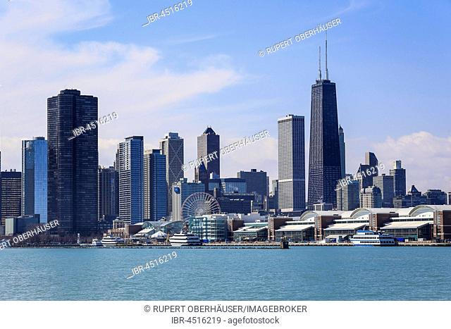 Skyline with Navy Pier and John Hancock Center, Chicago, Illinois, USA