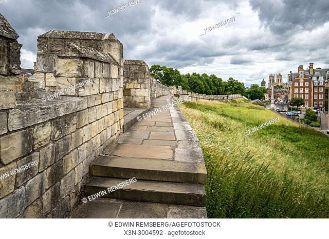 Closeup of the ancient York Walls that surround the City of York, Yorkshire, United Kingdom