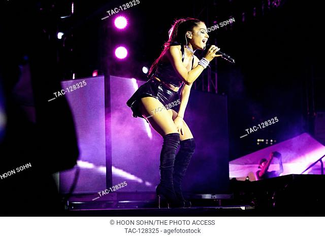 Ariana Grande performs at the NYC Pride's 29th Annual Dance on the Pier 26 on June 28th, 2015 in New York City, New York