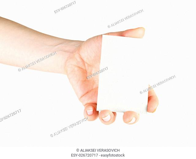 Blank business card in hand. For design presentations and portfolios. Isolated on white. Clipping path