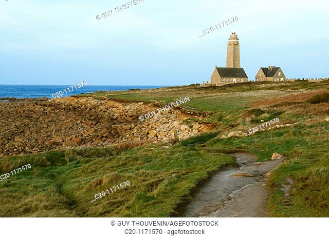 across country pedestrian walk, lighthouse in the background, and lighthouse keeper, Brick Point Fermanville village Manche 50 Normandy france