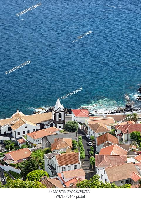 Village Calheta. Sao Jorge Island, an island in the Azores (Ilhas dos Acores) in the Atlantic ocean. The Azores are an autonomous region of Portugal