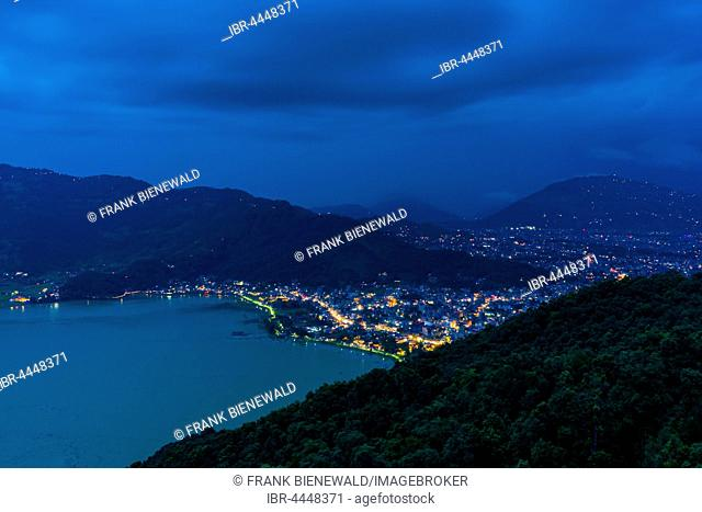 View on the illuminated city and the Phewa Lake at night, Pokhara, Kaski District, Nepal