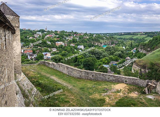 Walls of castle in Kamianets-Podilskyi city in Khmelnytskyi Oblast of western Ukraine