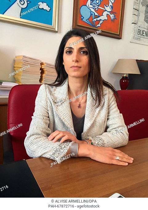 Virginia Raggi, Five Star Movement (M5S) party candidate in the next mayoral elections in Rome, gives an interview in her office in Rome, Italy, 20 April 2016