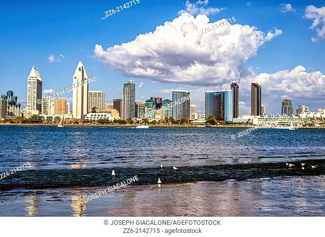 San Diego Harbor and Downtown Skyline. Photographed from Coronado, California, United States
