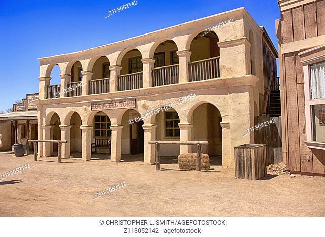 Hotel Del Torro cowboy film set building at the Old Tucson Film Studios amusement park in Arizona