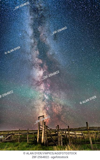 The Milky Way over the old corral at the site of the 76 Ranch in the Frenchman Valley in Grasslands National Park, Saskatchewan