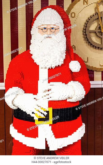 England, London, Leicester Square, Lego Store, Father Christmas made of Lego